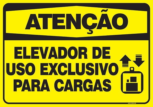 PLACA ELEVADOR: EXCLUSIVO PARA CARGAS