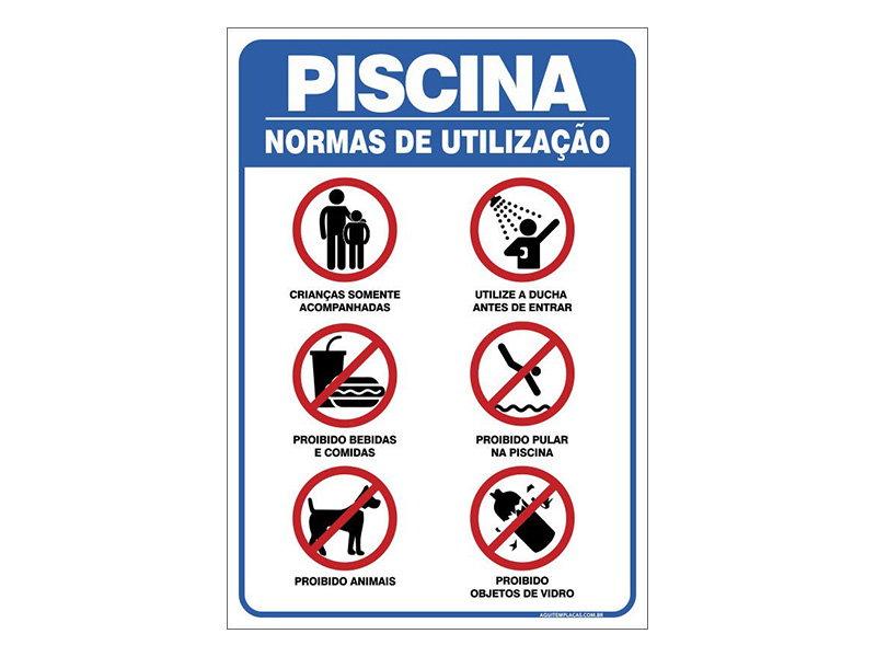 Placa normas da piscina for Normas de piscina