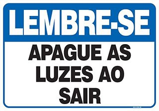PLACA APAGUE AS LUZES AO SAIR