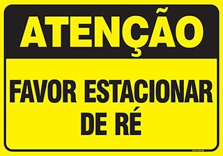 PLACA FAVOR ESTACIONAR DE RÉ